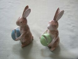 2 Vintage Rabbit Bunny Easter Egg Place Card Holders French Country Cottage Chic