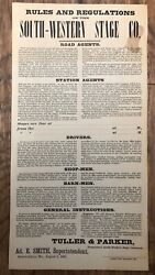 Antique South-western Stage Company Broadside Sign 1867 Rare