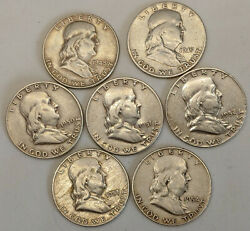 Every Year From 1948-1954 Seven 7 Franklin 90 Silver Half Dollars Us Currency