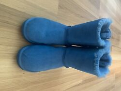 Womenandrsquos Ugg Boot Size 9and Great Condition Electric Blue Color With Bows On Back