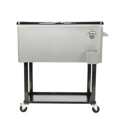 Portable Outdoor 80 Quart Rolling Patio Steel Party Cooler Cart Ice Chest