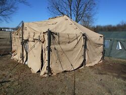Us Military Surplus 18x18 Mgpts Tent Army- Tent Is More Used Tan --some Damage