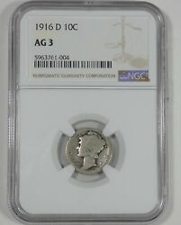 1916-d Mercury Dime Certified Ngc Ag 3 Silver 10c Key Date Of The Series