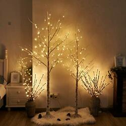 Peiduo Easter Decoration Birch Tree Combo Kit, 5 Feet And 6 Feet, Pack Of 2