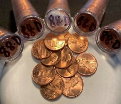 5 1988-d Lincoln Memorial Cent Rolls Gems From Mint Sewn Bag Real Nice