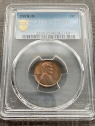Avc- 1918-d Lincoln Wheat Cent Pcgs Ms65 Rb