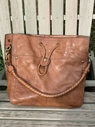 FRYE Womens quot;Melissaquot; drawstring bucket bag tote EUC brown leather with Brass $112.00