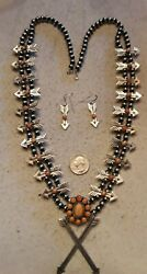 Navajo B. Begay Arrow Squash Blossom Necklace Earrings Spiny Oyster Sterling 30