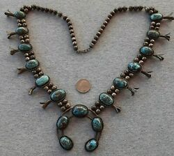 Vintage Squash Blossom Necklace Smoky Bisee Turquoise Sterling Silver 230g 31