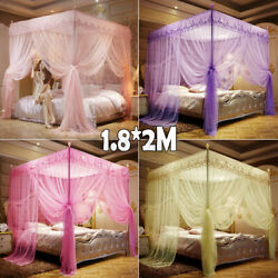 Us 4 Corner Post Bed Hanging Mosquito Net Curtain Canopy Netting Queen King