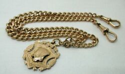 1919 Antique Superb Solid Heavy 9 Carat Gold Double Albert Watch Chain And Fob