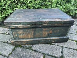 Antique Small Wooden Tool Box Trunk Chest Hand Made Old Blue Paint