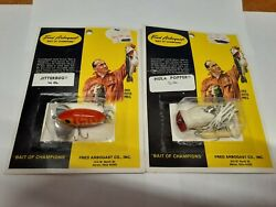 New In Package Vintage Fred Arbogast 1/4 Oz Hula Popper And Jitterbug