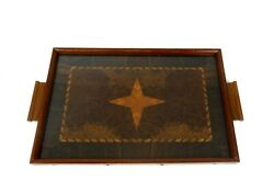 Rare French Art Deco Bird Eyes Maple Marquetry Antique Cocktail Tray 1930