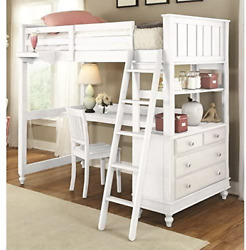 Ne Kids Lake House Twin Loft Bed With Desk In White