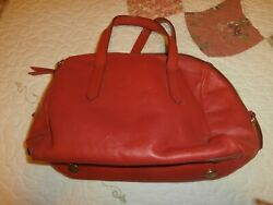 Fossil Red Leather Purse Tote Shoulder Bag