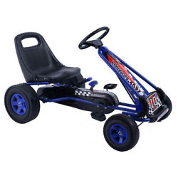 Topbuy Kids Go Kart Pedal Tricycle Racing Ride On Scooter Trainer Trike Blue