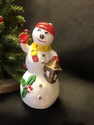 Vintage Christmas Snowman Ceramic Figurine With Lantern And Holly