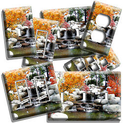 Dwarf Red Maple Nature Still Life Waterfall Light Switch Outlet Wall Plate Decor