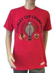 Chicago Blackhawks Mitchell And Ness Red Ss Stanley Cup Champions T-shirt L