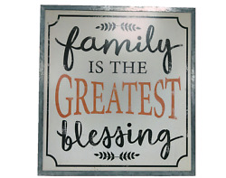 Family Home Decorative Wall Sign 20quot; X 20quot; Greatest Blessing Everyday Decor