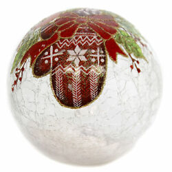 Christmas Glass Ball With Mitten Lg Glass Led Lighted Cardinal 53567c3