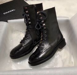 Chanel40 10 Classic2020leather Classic Ankle Lace Up Combat Boots Shoes Popular-