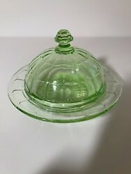 Vintage Hazel Atlas Colonial Block Green Depression Glass Butter Dish With Lid