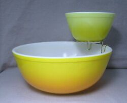 Rare Pyrex Pineapple / Sunshine Party Chip And Dip Set With Bracket, Excellent