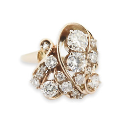 Vintage 14k Yellow Gold 1.75ct Vs-si Diamond Cluster Ring Size T1/2 Val 8440
