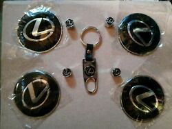 4x 65mm Black Wheel Center Cap Decal Sticker Keychain And Valve Cap Covers