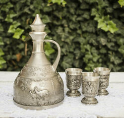 Tin Service Pewter Decanter And Three Glasses Food Tin Germany Hunting Zinn Nice
