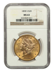 1898-s 20 Ngc Ms63 - Liberty Double Eagle - Gold Coin