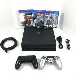 Sony Playstation 4 Ps4 Pro Black 1tb Console Bundle W/controllers + Games Read