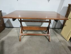 Vintage Hamilton Drafting Table 37 1/2 X 60 Tall Completely Refinished Top Is