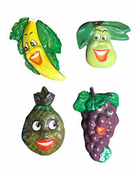 Vintage Anthropomorphic Happy Faces Fruit Chalkware Wall Plaques