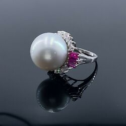 Vintage 18k White Gold Diamonds And Pearl Ring