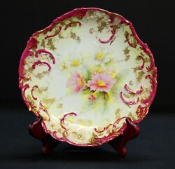 Germany Prussia Pink Floral Cabinet Plate, 9.75x10