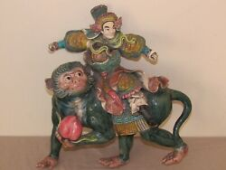 Chinese Roof Tile Figurine Warrior On Monkey With Peach Perfect