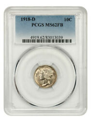 1918-d 10c Pcgs Ms62 Fb - Mercury Dime - Scarce With Full Bands