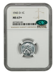 1943-d 1c Ngc/cac Ms67+ - Ww2 Steel Cent - Lincoln Cent - Ww2 Steel Cent