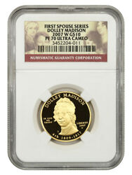 2007-w Dolley Madison 10 Ngc Pf70 - First Spouse .999 Gold