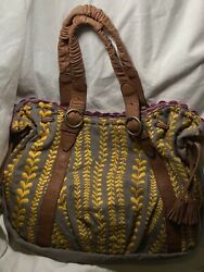ANTHROPOLOGIE LUCKY PENNY PURSE EMBROIDERED HOBO BAG TOTE BOHO Canvas $85.00