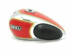 Ariel 350cc Red Painted And Chrome Steel Petrol Fuel Complete Tank And Knee Pad Andcap
