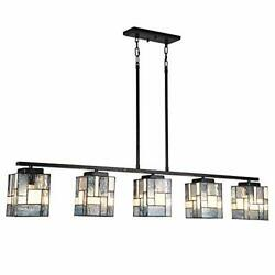 Artzone 5-light Modern Style Pool Table Light Stained Glass Chandelier A