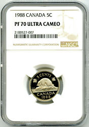 1988 Canada 5 Cent Ngc Pf70 Ucam Proof Issue Nickel Rare Top Pop Only 6