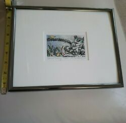 Marsha Heatwole Sign Original Hand Print Tint Watercolor 155/200 Cat And Canary