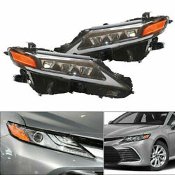 Pair Left And Right Led Drl Headlights Clear Lens Lamp For Toyota Camry 18-21
