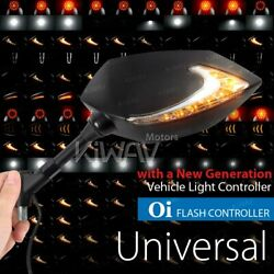 Kiwav Mirror Lucifer Dual Led + Oi Flasher Rate Control Relay For Victory Indian