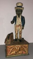 1886 - All Brass - Antique Uncle Sam Mechanical Bank